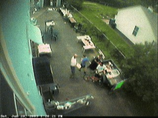 Frame from the time-lapse movie of the garage sale on the 28th.