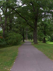 A trail heading west in Genesee Valley Park