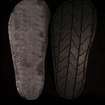 Car tires cut as shoe soles.