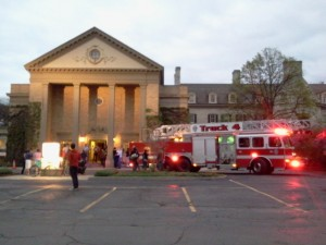 firetrucks visit the Eastman House