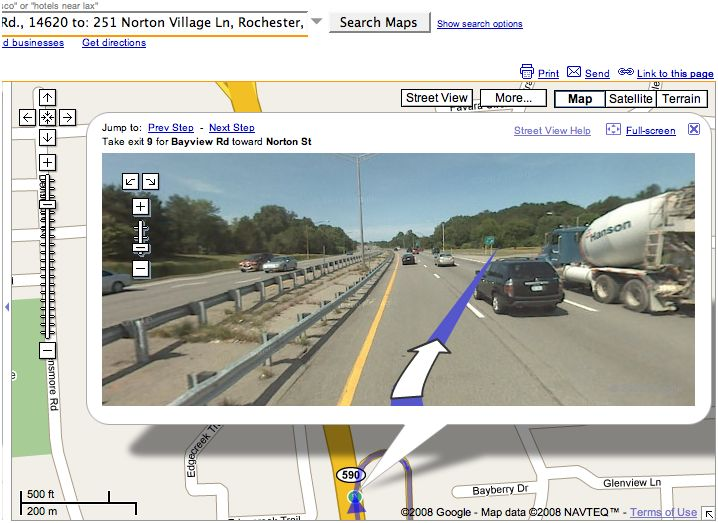 Google Maps Street View suggestion of taking Exit 9 off 590.
